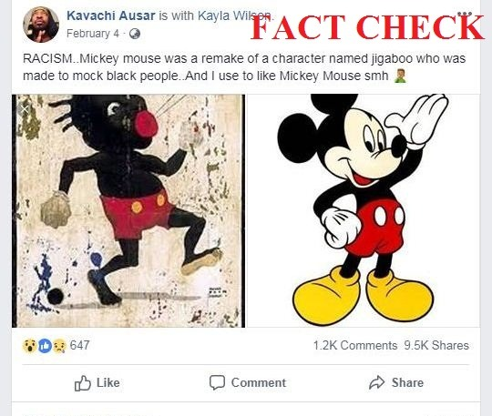comparing micky mouse with racist caricature