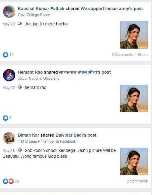 post claiming female soldier guarding rajasthan desert in scorching  heat