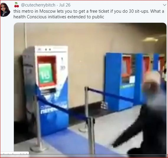ticket vending  machine with squatting sensor at Vystavochnaya  metro station, russia ( screen shot)