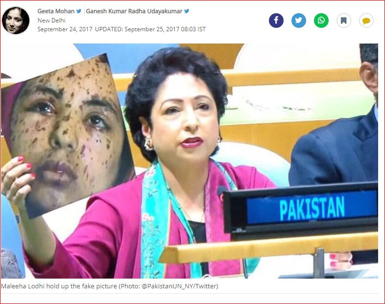 Maleeha Lodhi carrying a fake picture ( @pakistanUN_NY/Twitter)